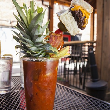 cheeseburger bloody mary al fresco at The Square Root In Bravard Brunch Ashley Ruzich Photography